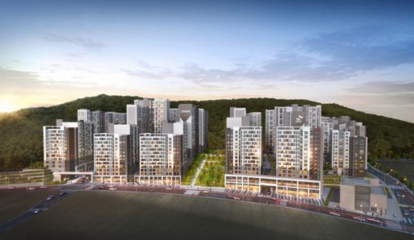 ▲SK건설-HDC현대산업개발 컨소시엄이 다음 달 서울 은평구 수색동에서 분양하는 'DMC SK뷰(VIEW) 아이파크 포레' 아파트 조감도. (자료 제공=리얼투데이)