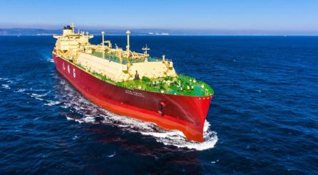 ▲현대중공업이 건조한 LNG 운반선.  (사진제공=한국조선해양)