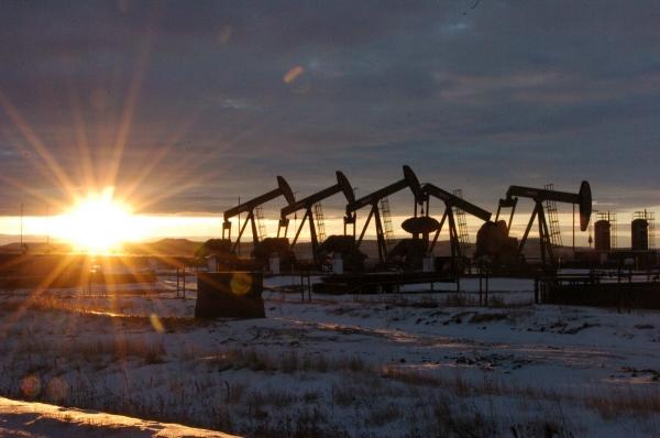 ▲미국 노스다코타주의 매켄지카운티에 원유를 끌어올리는 펌프잭이 보이고 있다. 매켄지/AP뉴시스