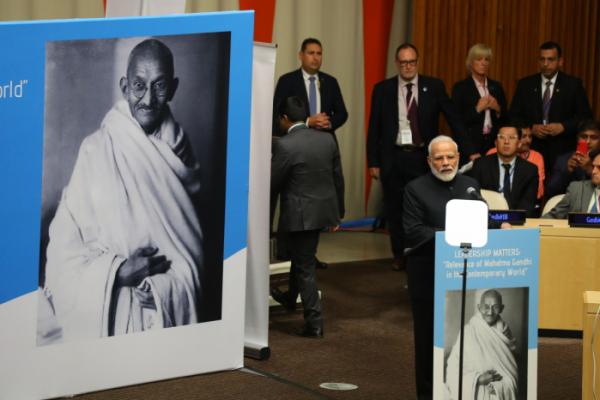 ▲나렌드라 모디 인도 총리가 지난해 9월 24일(현지시간) 뉴욕 유엔본부 경제사회이사회 회의장에서 열린 간디 탄생 150주년 기념 고위급 행사에서 특별연설을 하고 있다.  (뉴시스)