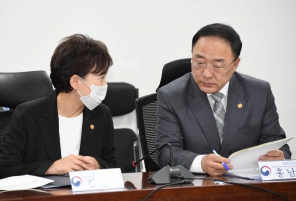 ▲홍남기 경제부총리(오른쪽)와 김현미 국토부 장관. (사진제공=기획재정부)