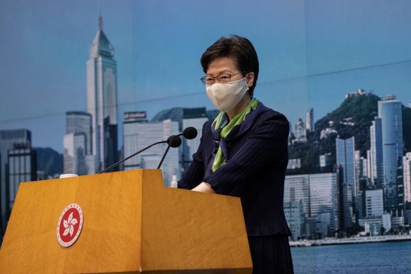 ▲캐리 람 홍콩 행정장관이 18일(현지시간) 기자회견을 하고 있다. 홍콩/EPA연합뉴스