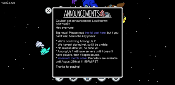▲'어몽어스 2' 개발 소식을 발표한 이너슬로스 (출처='어몽어스' 게임 캡처)