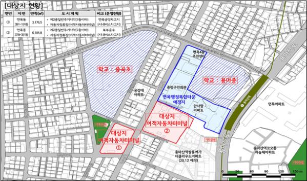 ▲서울 중랑구 면목동 버스차고지 개발 검토지 위치도. (출처=중랑구)