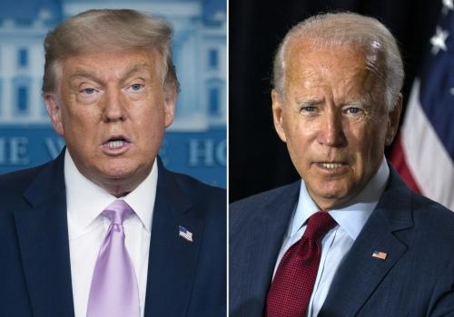 ▲도널드 트럼프(왼쪽) 미국 대통령과 조 바이든 미국 민주당 대통령 후보. AP뉴시스