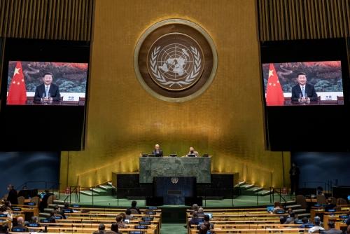 ▲미국 뉴욕 유엔총회장에서 22일(현지시간) 시진핑 중국 국가주석의 연설이 나오고 있다. 뉴욕/로이터연합뉴스
