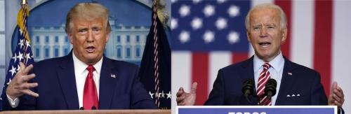 ▲도널드 트럼프(왼쪽) 미국 대통령과 조 바이든 민주당 대선 후보. 27일(현지시간) 뉴욕타임스(NYT)에 따르면 바이든 후보는 지지율 49%를 얻어 41%의 지지율을 기록한 트럼프 대통령에게 앞섰다. AP연합뉴스