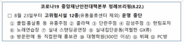 ▲12개 업종 중 △콜라텍 △유흥주점은 1000만 원 저리 대출에서 제외된다. (자료제공=중기부)