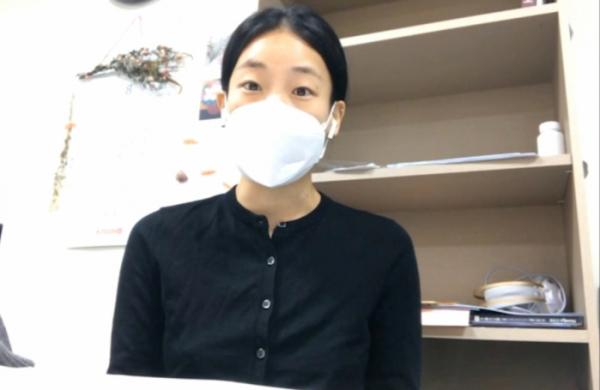 """▲유연화 간호사는 이투데이와의 화상 인터뷰에서 """"간호사를 돌봄 서비스적인 면이 아닌 의료인으로 봐줬으면 좋겠다""""라고 밝혔다. (안유리 수습기자 inglass@)"""