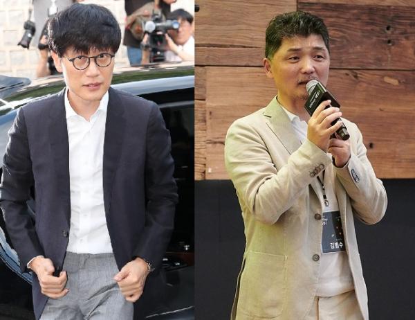 ▲이해진 네이버 GIO(왼쪽)과 김범수 카카오 의장.  (사진제공=이투데이DB)