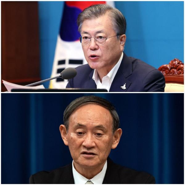 ▲문재인 대통령(사진 위쪽)과 스가 요시히데 일본 총리. AP뉴시스
