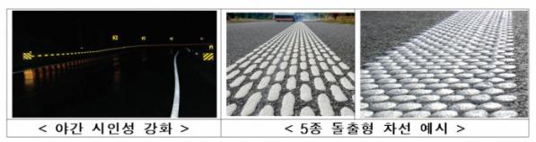 ▲국토교통부가 야간, 빗길에도 잘 보이는 도로 차선을 만들기로 했다. 사진은 야간 시인성을 강화한 차선과 5종 돌출형 차선. (국토교통부)