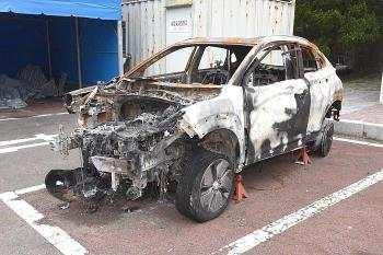 ▲사진은 2019년 8월 13일 세종시에서 발생한 코나EV 화재 차량. (장경태 의원실)
