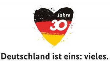 """▲독일 30주년 기념 로고. """"독일은 하나이면서 여럿입니다""""라는 문구가 붙어 있다.   사진출처 독일연방정부 홈페이지"""