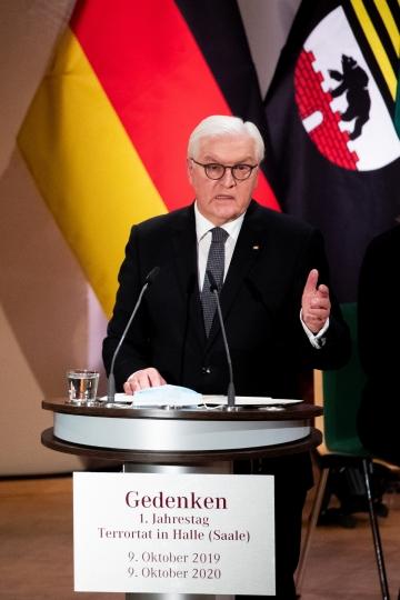 ▲프랑크-발터 슈타인마이어 독일 대통령이 9일(현지시간) 독일 동부 할레에서 연설을 하고 있다. 할레/EPA연합뉴스