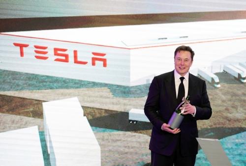 ▲일론 머스크 테슬라 CEO가 1월 중국 상하이 공장 개막식에 참석했다. 상하이/로이터연합뉴스