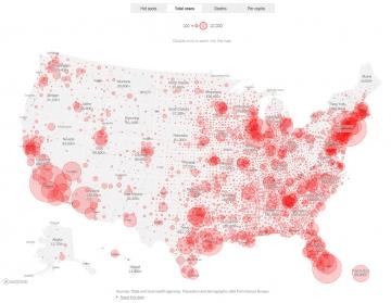 ▲미국 신종 코로나바이러스 감염증(코로나19) 발병 현황. 출처 뉴욕타임스(NYT)