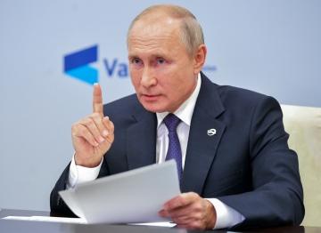 ▲블라디미르 푸틴 러시아 대통령이 22일(현지시간) 모스크바 외곽 노보오가료보 관저에서 외교정책 전문가 화상 콘퍼런스에 참석하고 있다. 모스크바/AP연합뉴스