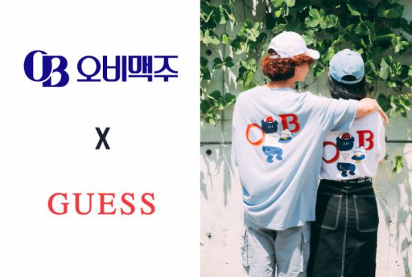 ▲게스(GUESS)로고와 오비맥주 로고, 콜라보레이션한 티셔츠 (출처=게스(GUESS))