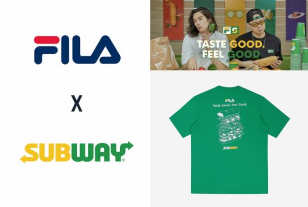 ▲휠라(FILA)로고와 써브웨이(SUBWAY)로고, 콜라보레이션한 티셔츠 (출처=휠라 홈페이지)