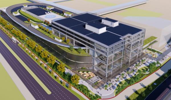 ▲현대차그룹이 싱가포르 서부 '주롱' 지역에 건설 중인 개방형 혁신기지 HMGICS의 모습. 지상 7층 규모로 들어서는 이 혁신기지 옥상에는 UAM 버티포트가 처음으로 들어선다.  (사진제공=현대차그룹)