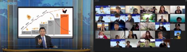▲2020 월드옥타 도쿄지회 차세대 글로벌창업무역스쿨 참가자들이 17일 온라인들 통해 월드옥타 하용화 회장 강연을 듣고 있다.