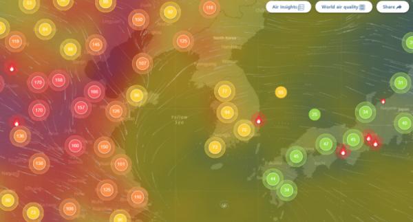 ▲미세먼지 수치를 나타낸 홈페이지. 21일 중국에는 '매우나쁨'에 해당하는 도시들이 많다. (에어비주얼 홈페이지 캡처)
