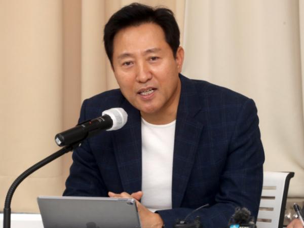 ▲오세훈 전 서울시장이 22일 오후 서울 마포구 마포현대빌딩에서 열린 더 좋은 세상으로 제9차 정례세미나에서 기조연설을 하고 있다. (연합뉴스)