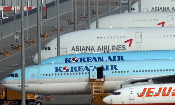 ▲인천국제공항 계류장에 대한항공과 아시아나항공 항공기들이 서있다.    (연합뉴스)