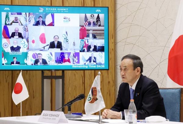 ▲21일 G20 정상회의에서 발언하는 스가 요시히데 일본 총리. EPA연합뉴스