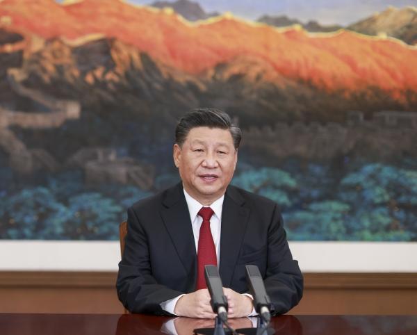 ▲시진핑 중국 국가주석이 19일 중국 베이징에서 APEC 주최 화상 CEO 대화에 참석해 연설을 하고 있다. 베이징/신화뉴시스