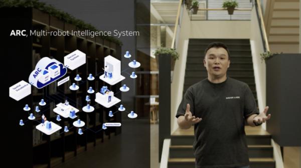 ▲석상옥 네이버랩스 대표가 멀티 로봇 인텔리전스 시스템 ARC에 대해 설명하고 있다.  (사진제공=네이버)
