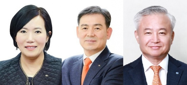 ▲(왼쪽부터) 박정림·김성현 KB증권 대표, 김경규 하이투자증권 대표