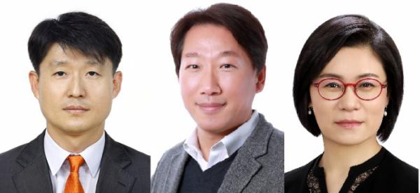 ▲(왼쪽부터) LG디스플레이 이진규 전무, 이현우 전무, 김희연 전무 (사진제공=LG전자)