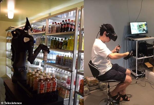 ▲일본 편의점 체인 로손이 도입한 로봇 '모델T'가 가상현실 시스템으로 연결된 사람의 행동에 따라 편의점 선반에 상품을 진열하고 있다. 사진제공 텔레이그지스턴스