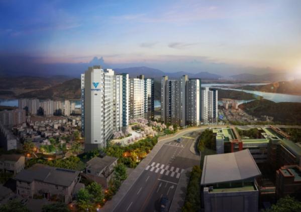 ▲한라가 12월 전남 광양시 광영동 일원에 분양하는 '가야산 한라비발디 프리미어' 아파트 투시도.