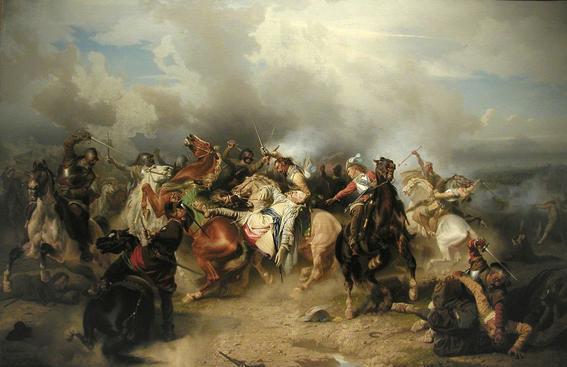▲구스타브 아돌프가 뤼첸 전투에서 전사하는 최후의 모습을 묘사한 그림.  사진출처 위키