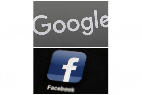 ▲위쪽부터 구글과 페이스북의 로고. AP연합뉴스