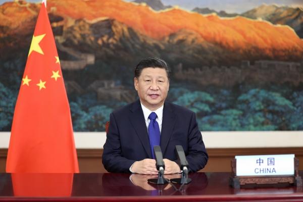 ▲시진핑 중국 국가주석이 13일 유엔 기후 정상회의에 참여해 화상 연설을 하고 있다. 베이징/신화뉴시스
