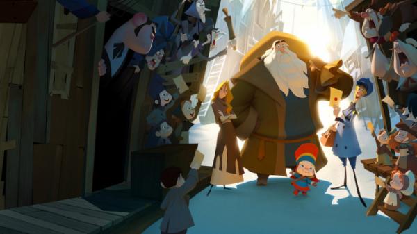 ▲제프리와 클라우스는 함께 힘을 모아 마을 아이들에게 선물을 배달한다. (출처=넷플릭스)