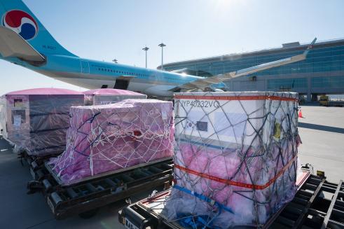 ▲대한항공은 작년 12월 KE925편 인천발 네덜란드 암스테르담 행 여객기로 코로나 백신 원료를 수송했다.  (사진제공=대한항공)