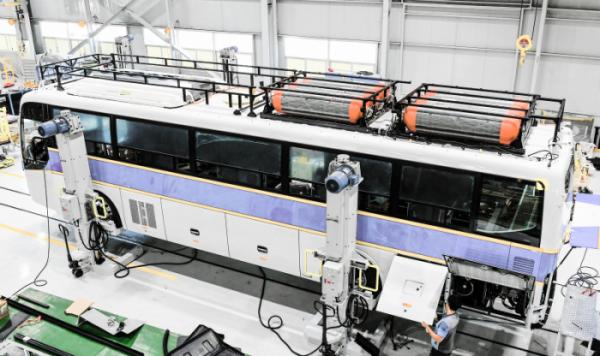 ▲수소전기버스를 생산 중인 현대차 전주 공장.  (사진제공=현대차)