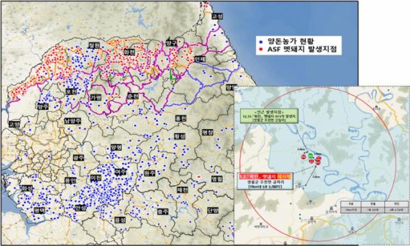 ▲강원 영월 멧돼지 ASF 검출지역 인근 양돈농장 현황. (자료제공=농림축산식품부)