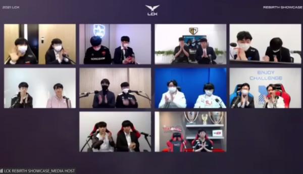 ▲'2021 LCK 스프링 미디어데이'에 참석한 10개 구단의 감독과 선수들의 모습이다. (사진=줌(ZOOM) 화면 캡쳐)