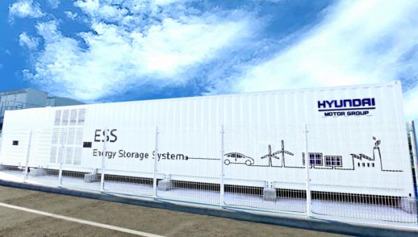 ▲현대차 울산공장 내 태양광 발전소의 에너지 저장장치(ESS) 모습.  (사진제공=현대차그룹)