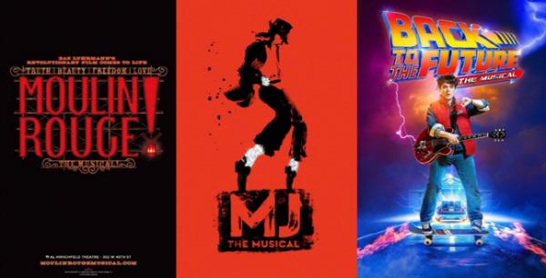 ▲'물랑루즈'(왼쪽부터), 'MJ', '백투더퓨처' 포스터. (사진제공=CJ ENM)