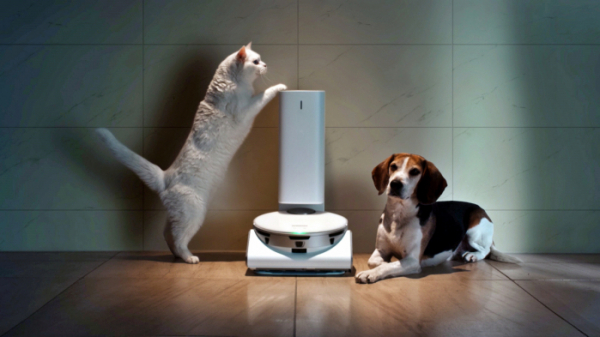▲CES 2021 삼성 프레스컨퍼런스에 소개된 '삼성 제트봇 AI' 로봇청소기와 '스마트싱스 펫(SmartThings Pet)' 케어 서비스 (사진제공=삼성전자)