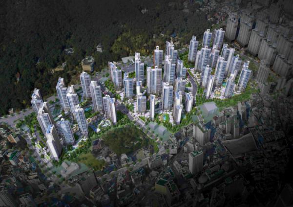 ▲삼성물산이 부산 동래구 온천4구역을 재개발해 분양하는 '래미안 포레스티지' 조감도.