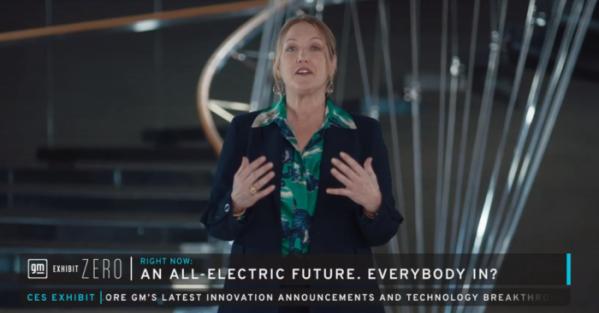 ▲데보라 왈 GM 마케팅 최고책임자(CMO)가 11일(현지시간) CES 2021에서 GM의 전기차 전략에 관해 기조연설을 하고 있다.  (출처=GM CES EXHIBIT)