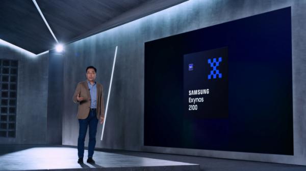 ▲삼성전자 강인엽 사장(시스템LSI 사업부장)이 '엑시노스 2100'을 소개하고 있다. (사진제공=삼성전자)